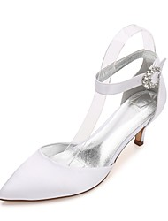 cheap -Women's Wedding Shoes Kitten Heel / Cone Heel / Low Heel Pointed Toe Rhinestone / Sparkling Glitter / Hollow-out Satin Comfort / Mary Jane / D'Orsay & Two-Piece Spring / Summer Blue / Champagne