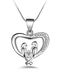 cheap -Pendant Necklace Women's Synthetic Diamond Heart Ladies Classic Fashion Silver Necklace Jewelry for Party Gift Daily Evening Party Stage