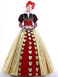 cheap -Alice's Adventures in Wonderland Queen of Hearts Dress Women's Movie Cosplay Vacation Dress Dress Petticoat Wig Christmas Halloween Carnival Ssatin