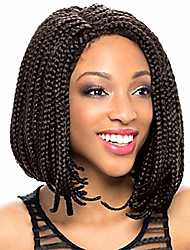 cheap -Synthetic Lace Front Wig Bob Lace Front Wig Short Medium Length Natural Black Synthetic Hair Middle Part Sew in Kanekalon Hair Braided Wig Black