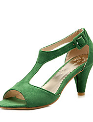 cheap -Women's Sandals Cone Heel Peep Toe Hollow-out Leatherette Formal Shoes Summer Green / Pink / Burgundy / Party & Evening / Party & Evening