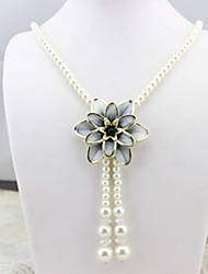 cheap -Women's Choker Necklace Pendant Necklace Chain Necklace Single Strand Flower Lotus Ladies Personalized Unique Design Dangling Imitation Pearl Chrome White Black Light Blue Necklace Jewelry For