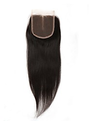 cheap -4x4 Closure Straight Middle Part Swiss Lace Human Hair