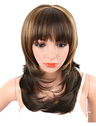 cheap -Synthetic Wig Natural Wave Natural Wave Wig Medium Length Brown Synthetic Hair Brown