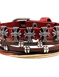 cheap -Men's Wrap Bracelet Leather Bracelet Cross Ladies Personalized Bohemian Boho Leather Bracelet Jewelry Red For Daily Casual Stage Street Club / Gold Plated