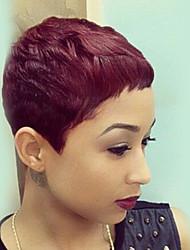 Недорогие -Человеческие волосы Парик Прямой Классика Естественные волны Короткие Прически 2020 Классика Естественные волны Машинное плетение Жен. Темное вино Повседневные