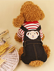 cheap -Dog Clothes/Jumpsuit Dog Clothes Casual/Daily Stripe Blue Ruby