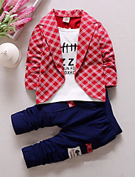 cheap -Toddler Kid's Boys' T shirt Suit & Blazer Clothing Set Plaid Patchwork Letter Long Sleeve 3 Pieces Party Casual Red Yellow Gray Outfits Check Regular 1-5 Years