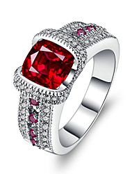 cheap -Women's Band Ring AAA Cubic Zirconia Synthetic Ruby Red Silver Circle Luxury Vintage Wedding Engagement Jewelry
