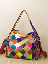 cheap -Women's Bags Cowhide Tote Plaid Split Joint Vintage Retro Event / Party Outdoor Office & Career Rainbow