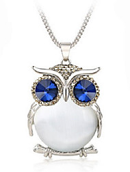 cheap -Women's Pendant Necklace Owl Animal Rhinestone Alloy White Light Blue Necklace Jewelry For Wedding Party Special Occasion Anniversary Birthday
