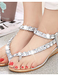 cheap -Women's Sandals Glitter Crystal Sequined Jeweled PU Comfort Summer Silver