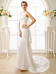 cheap -Mermaid / Trumpet Wedding Dresses Bateau Neck Court Train Satin Regular Straps Simple Backless with Cascading Ruffles 2021