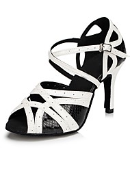 cheap -Women's Dance Shoes Leather Latin Shoes Sandal Customized Heel Black / White / Indoor / EU40