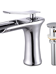 cheap -Faucet Set - Waterfall Chrome Deck Mounted Single Handle One HoleBath Taps