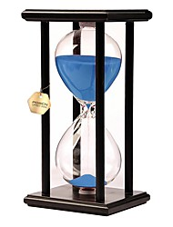 cheap -60 Minutes Hourglass Sand Timer Sand Glass Timer Office Desk Toys Home Kitchen Tool Wooden Glass Unisex Boys' Girls' Toy Gift