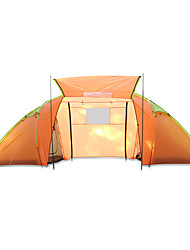 cheap -4 person Cabin Tent Family Tent Outdoor Waterproof Rain Waterproof Quick Dry Double Layered Camping Tent >3000 mm for Camping / Hiking Glass fiber Terylene