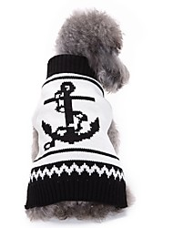 cheap -Dog Coat Sweater Christmas Winter Dog Clothes Black / White Costume Acrylic Fibers Sailor Party Holiday Casual / Daily XS S M L XL