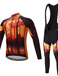 abordables -Homme Manches Longues Maillot et Cuissard Long à Bretelles de Cyclisme - Jaune / noir. Vélo Ensemble de Vêtements, La peau 3 densités,