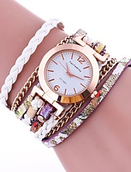 cheap -Women's Bracelet Watch Quartz Quilted PU Leather Black / White / Blue Hot Sale Analog Ladies Vintage Casual Fashion Elegant - Green Blue Pink One Year Battery Life / TY 377A