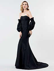 cheap -Mermaid / Trumpet Celebrity Style Convertible Dress Open Back Holiday Cocktail Party Formal Evening Dress Strapless Long Sleeve Sweep / Brush Train Taffeta with Pleats 2020