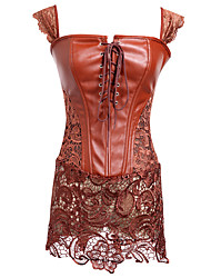cheap -Women's Lace Up Corset Dresses - Solid Colored Red Brown S M L / Super Sexy