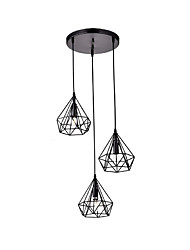 cheap -Vintage Black Metal Polygon Pyramid Lamp Pendant With 3-Lights Chandelier Living Room Dining Room Light Fixture
