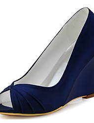 cheap -Women's Wedding Shoes Wedge Heel Peep Toe Ruffles Elastic Fabric Basic Pump Spring / Summer Blue / Light Pink / Ivory / Party & Evening
