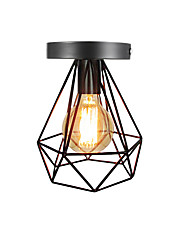 cheap -Vintage 1-Lights Black Metal Cage Loft Ceiling Lamp Flush Mount Dining Room Kitchen Light Fixture