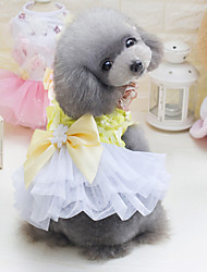 cheap -Dog Dress Dog Clothes White Purple Red Costume Polyester Cotton Solid Colored Casual / Daily