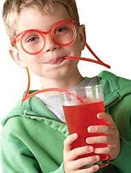cheap -2PCS Glasses Design Straw Funny Soft Glasses Straw Unique Flexible Drinking Tube Kids Colorful Plastic Drinking DIY Straws Bar Accesso(Random Color)