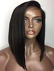 cheap -Human Hair Glueless Lace Front Lace Front Wig Bob style Brazilian Hair Straight Wig 130% Density with Baby Hair Natural Hairline African American Wig 100% Hand Tied Women's Short Medium Length Long