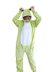 cheap -Adults' Kigurumi Pajamas Frog Onesie Pajamas Flannel Fabric Green Cosplay For Men and Women Animal Sleepwear Cartoon Festival / Holiday Costumes
