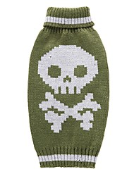cheap -Cat Dog Coat Sweater Christmas Winter Dog Clothes Green Costume Spandex Cotton / Linen Blend Skull Party Cosplay Casual / Daily XXS XS S M L XL