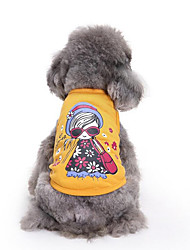 cheap -Dog Vest Dog Clothes Cartoon Cotton Costume For Spring &  Fall Summer Men's Women's Casual / Daily