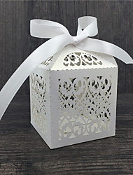 cheap -Round / Square / Cubic Pearl Paper Favor Holder with Ribbons / Printing Favor Boxes - 50