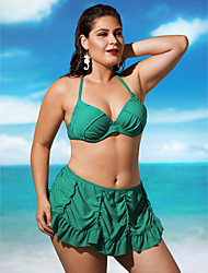 cheap -Women's Plus Size Halter Neck Black Green Watermelon Bandeau Skirt Bikini Swimwear - Solid Colored Ruffle XL XXL XXXL Black