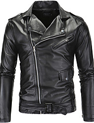 cheap -Men's Party / Daily / Sports Street chic / Punk & Gothic Fall / Winter Regular Leather Jacket, Solid Colored / Color Block Notch Lapel Long Sleeve PU Black / Work / Slim