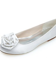 cheap -Women's Wedding Shoes Flat Heel Round Toe Satin Flower Satin Ballerina Spring / Summer White / Purple / Party & Evening