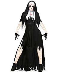 cheap -Bloody Mary Dress Cosplay Costume Adults' Men's Halloween Carnival Day of the Dead Festival / Holiday Elastane Tactel Black with White Carnival Costumes Vintage