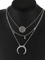 cheap -Women's Pendant Necklace Moon double horn Bohemian Vintage Alloy Silver Necklace Jewelry For Wedding Party Birthday Gift Daily Ceremony
