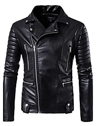 cheap -Men's Daily / Club Street chic Fall / Winter Regular Leather Jacket, Solid Colored Notch Lapel Long Sleeve PU Black