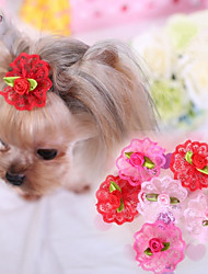 cheap -Cat Dog Hair Accessories Hair Bow Dog Clothes Rose Red Pink Terylene Costume For Spring &  Fall Cosplay Wedding