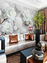 Недорогие -белый пион цветок на заказ 3d большие настенные покрытия настенные обои подходят кафе-комната спальня отель