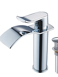 cheap -Faucet Set - Waterfall Chrome Centerset Single Handle One HoleBath Taps