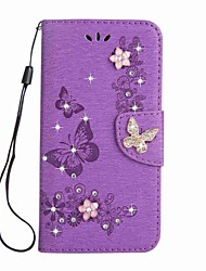 cheap -Case For SonyXperia XA Ultra / SonyXperia XZ Premium / SonyXperia XZ / SonyXperia XA1 Ultra Wallet / Card Holder / Rhinestone Full Body Cases Butterfly Hard PU Leather