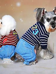 cheap -Dog Jumpsuit Winter Dog Clothes Red Blue Gray Costume Cotton Jeans Cowboy Fashion XS S M L XL