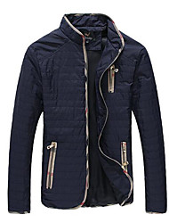 cheap -Men's Daily / Weekend Fall Regular Jacket, Solid Colored Stand Long Sleeve Others Blue / Black