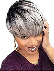 Недорогие -Человеческие волосы Парик Прямой Короткие Прически 2019 Прически Холли Берри Прямой силуэт Машинное плетение Черный / серый