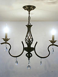 cheap -3-Light 61 cm Crystal / Candle Style Chandelier Metal Traditional / Classic 110-120V / 220-240V